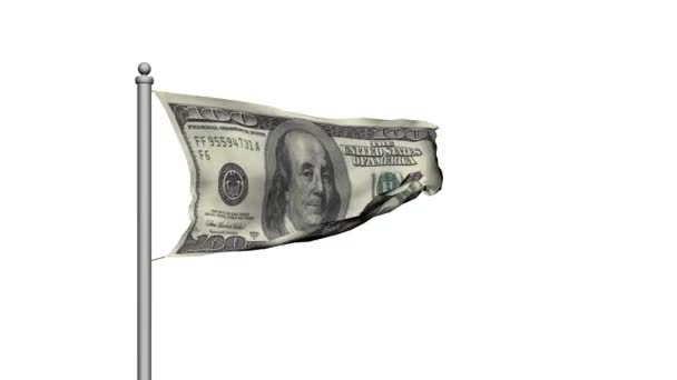 Dollar bill money flag on white