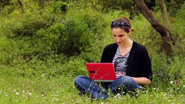 beautiful girl using computer in countryside