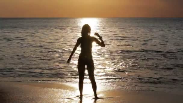 Mysterious Silhouette Sexy Girl at Stock Footage Video