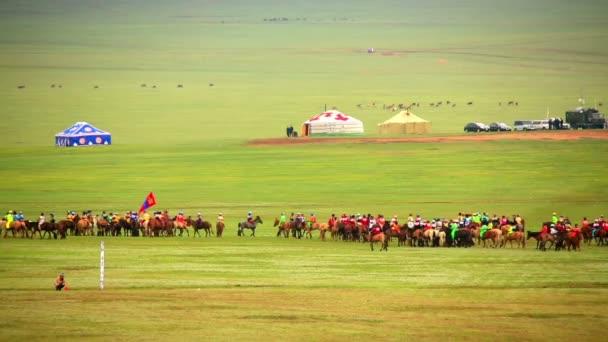 Paddock während des Naadam-Festivals, Mongolei