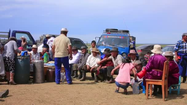 Mongolian people celebrating Naadam