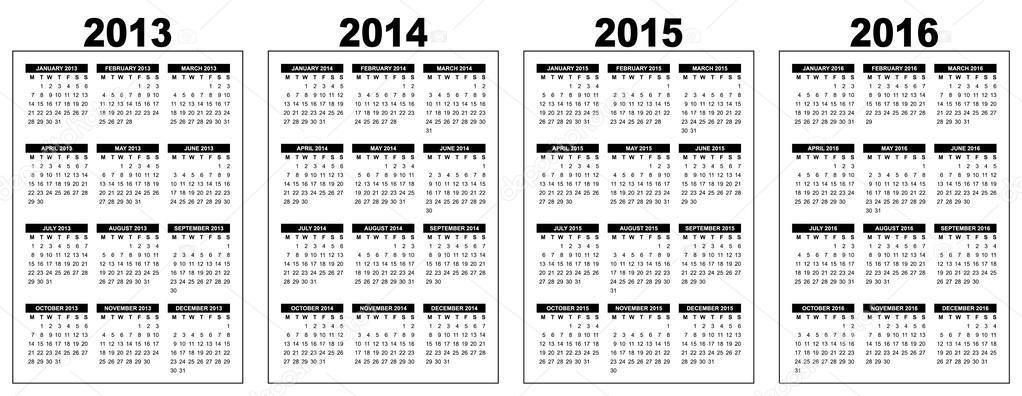 basic calendar 2013 2016 stock vector annavee 36374821