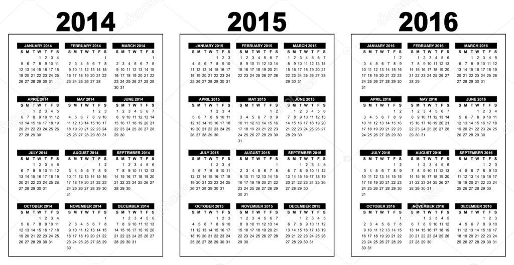 basic calendar 2014 2016 stock vector annavee 36374841