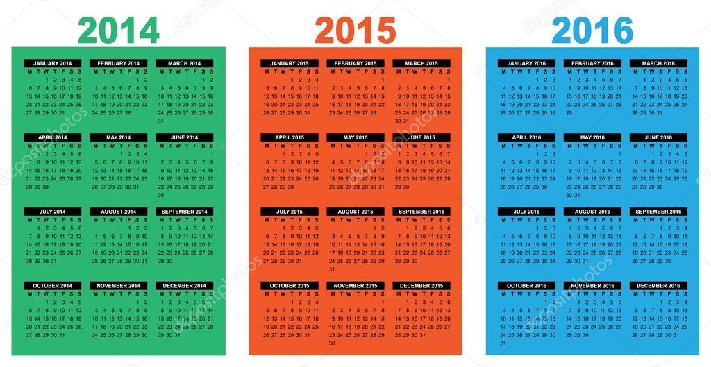 basic calendar 2014 2016 colour stock vector annavee 36374847
