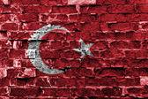 Turecká vlajka maloval na zdi