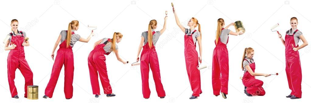 jeune femme en combinaison rouge avec des outils de peinture photographie igorr1 14632537. Black Bedroom Furniture Sets. Home Design Ideas