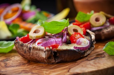 Giant stuffed Portobello mushrooms