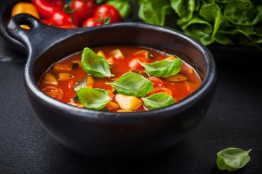 Minestrone soup with vegetables