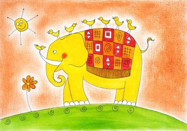 Happy elephant and birds, child's drawing, watercolor painting on canvas paper