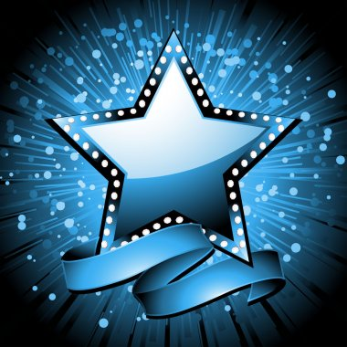 Glossy blue star with diamond border and banner on a blue starburst background