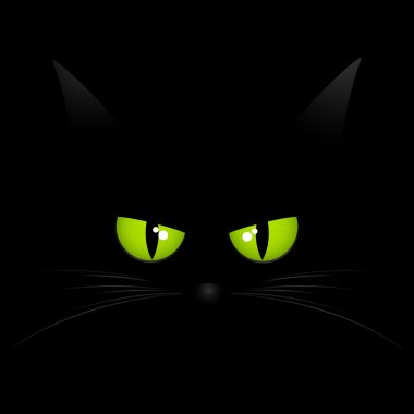 Cat eyes in dark night. Vector background.
