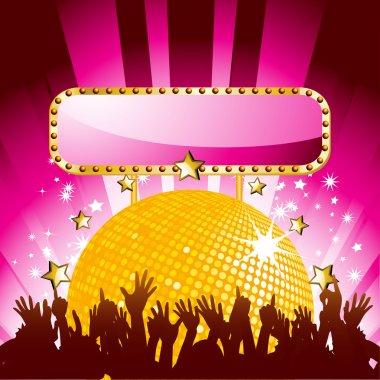 Purple disco ball & crowd