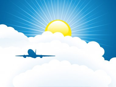 Plane in the sky. Vector illustration