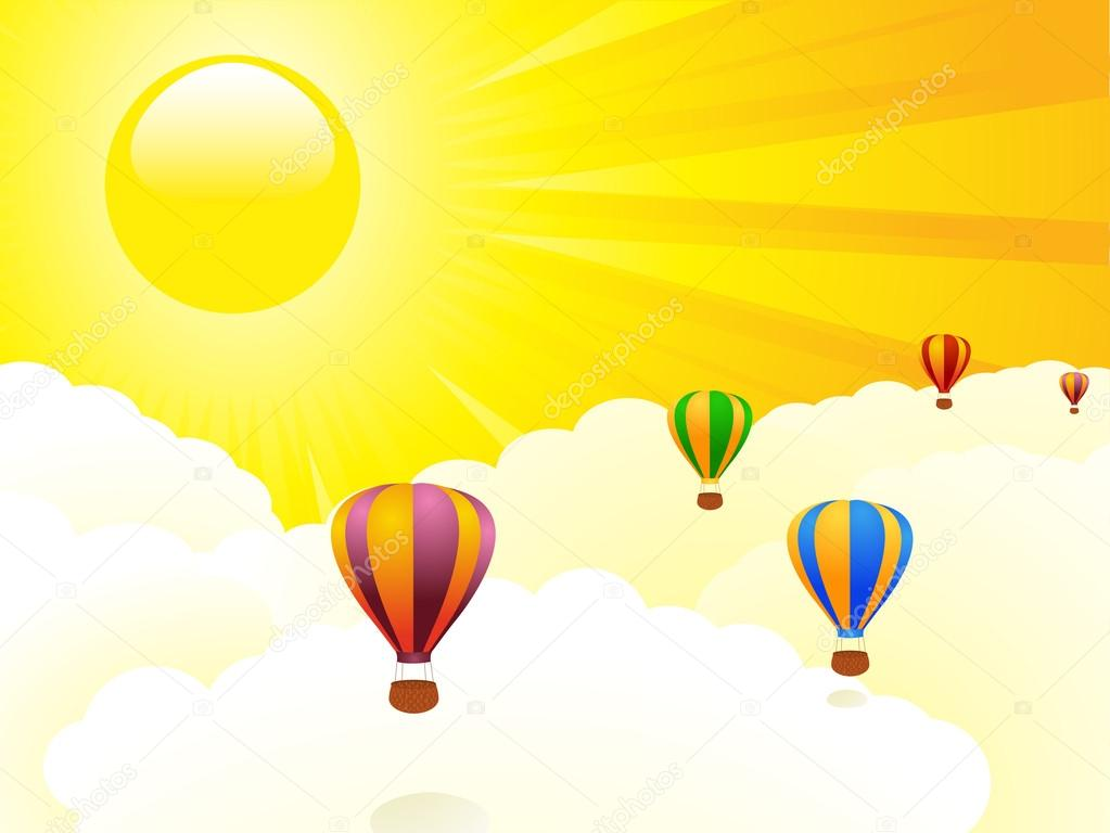 Abstract hot air balloon floating above the clouds agains a golden sky