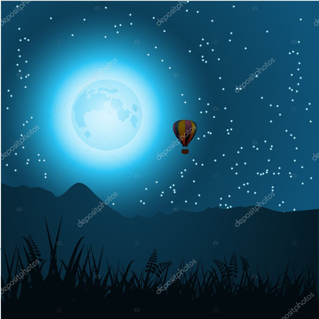 Hot air balloon in the form of the moon