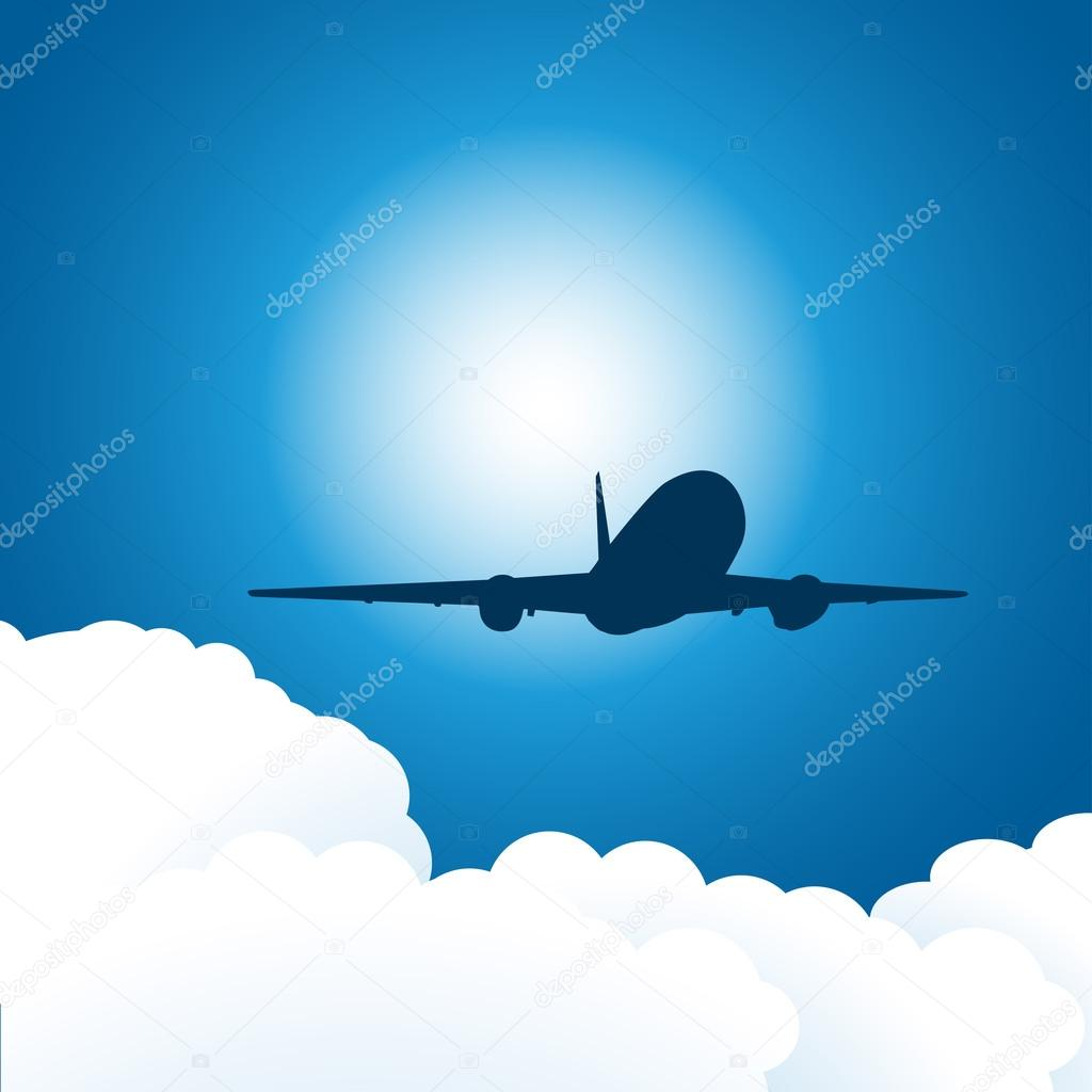 Plane in the sky. Vector illustration