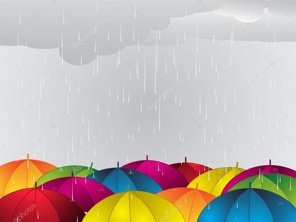 Colour umbrellas under the rain