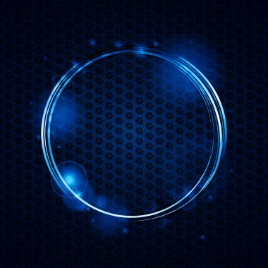 Blue neon circle border background on metallic mesh stock vector