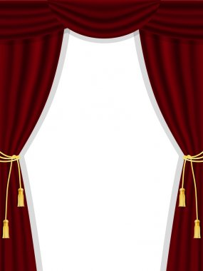 Open theatre curtains on white