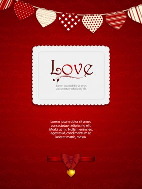 valentine heart card with ribbon and sample text