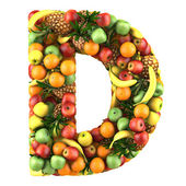 Fotografie Letter - D made of fruits. Isolated on a white.