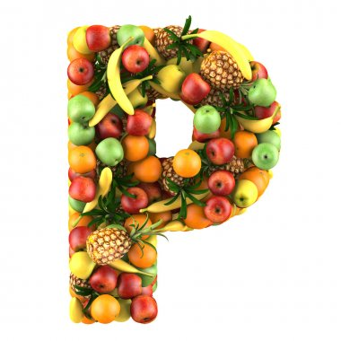 Letter - P made of fruits. Isolated on a white.