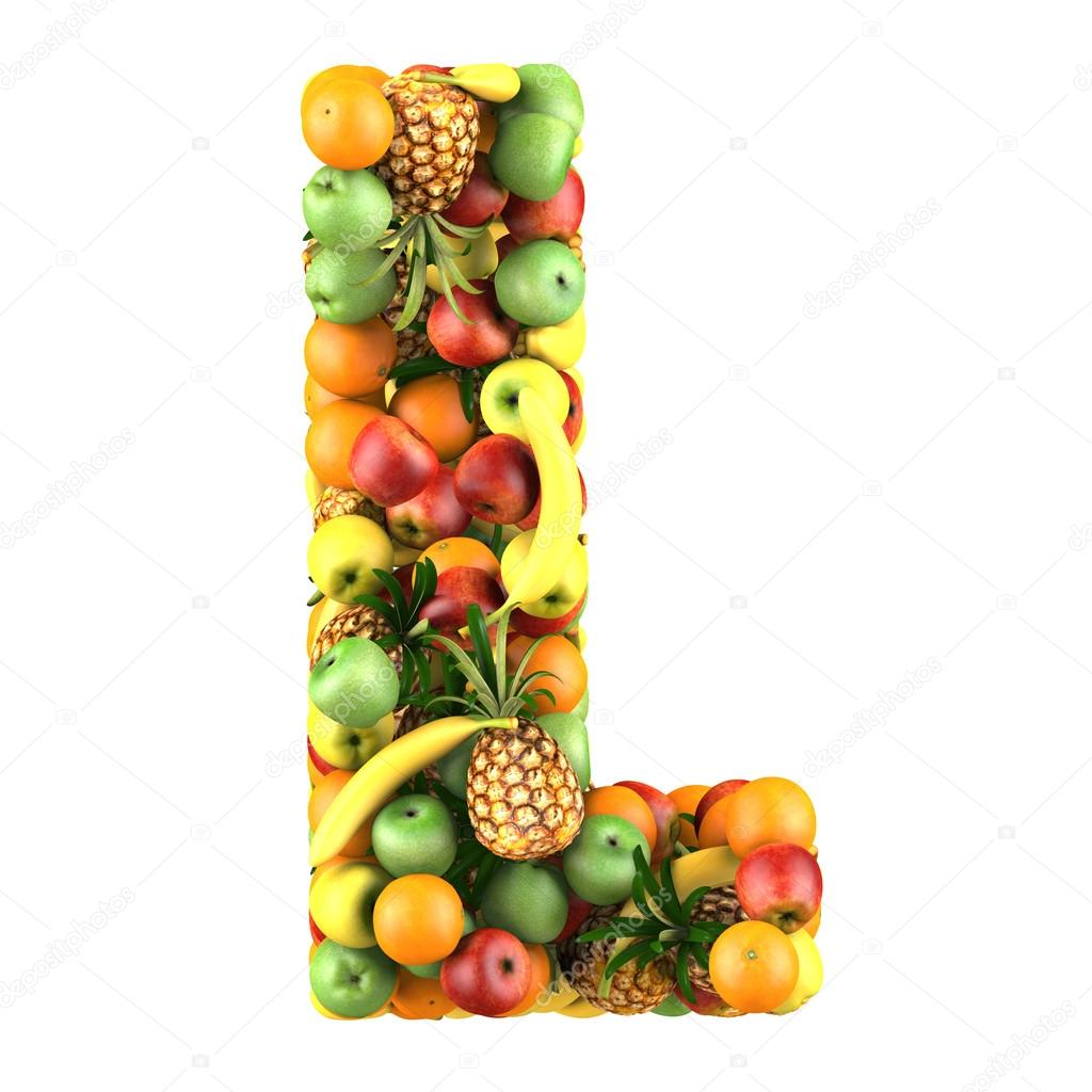 Letter L made of fruits Isolated on a white — Stock