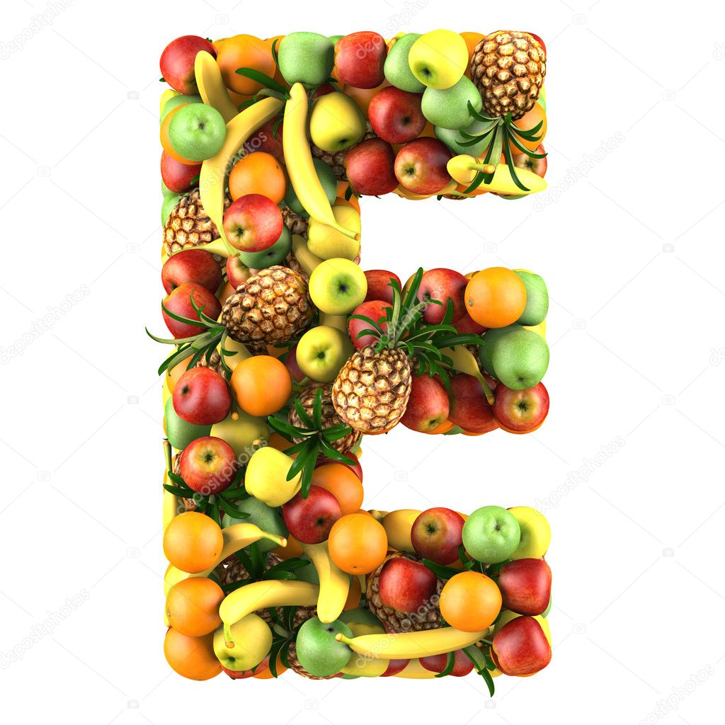 Letter - E made of fruits