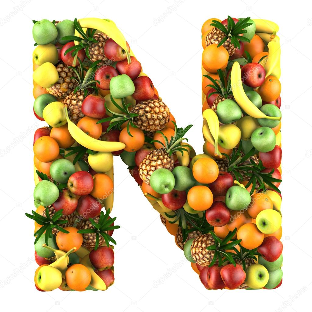 Letter N made of fruits Isolated on a white — Stock