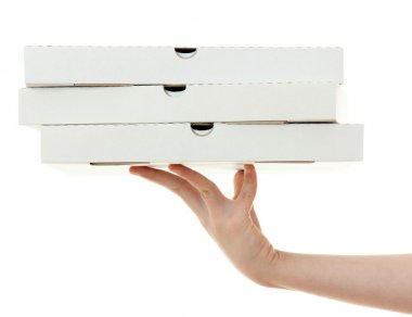 Pizza box with hand