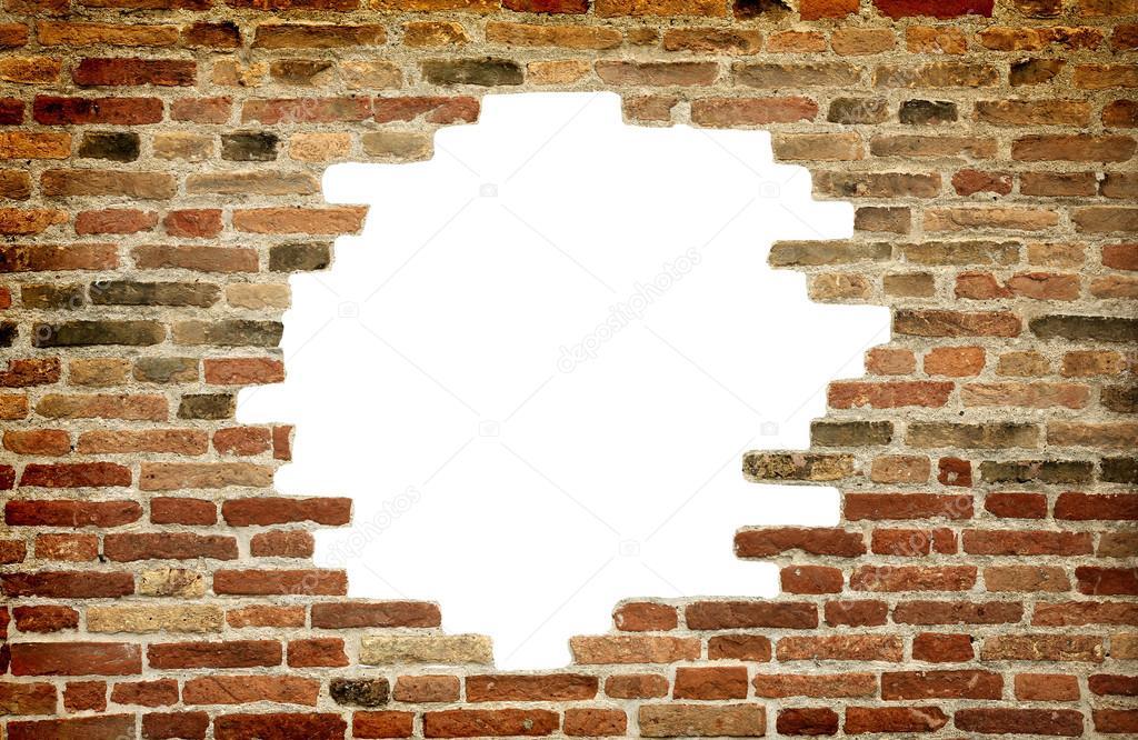 agujero blanco en la vieja pared, marco de ladrillo — Fotos de Stock ...