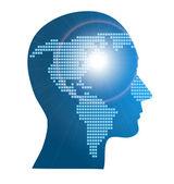 Fotografie Darstellung der Weltkarte in menschlicher Kopf