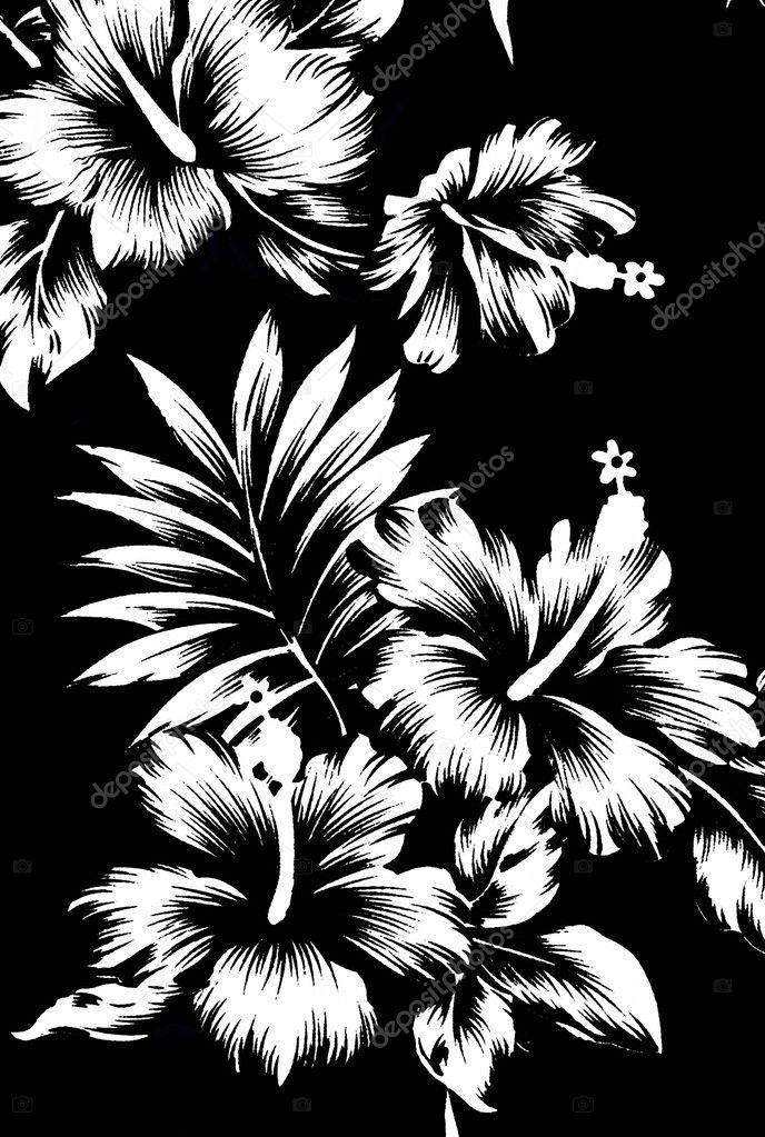 Hawaiian patterns, black and white tone.