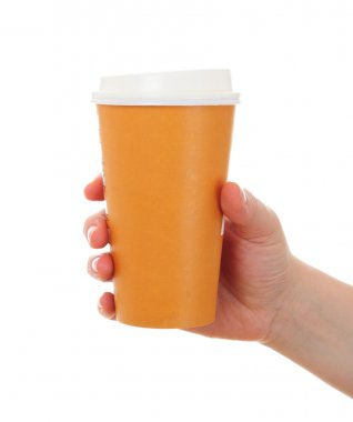 woman hand with paper coffee cup, take away