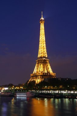 Paris. The Eiffel Tower with light, in night.