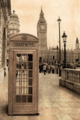 Vintage view of London, Big Ben  phone booth
