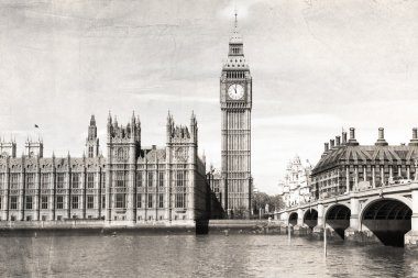 Old London , black and white, vintage photo.