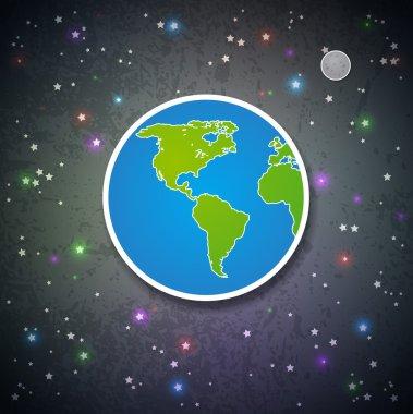 Cartoon Earth and the Moon
