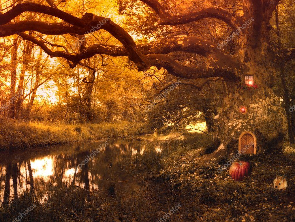 Фотообои Fairy tale with elf house and pumpkin,rabbit and lights in the fores