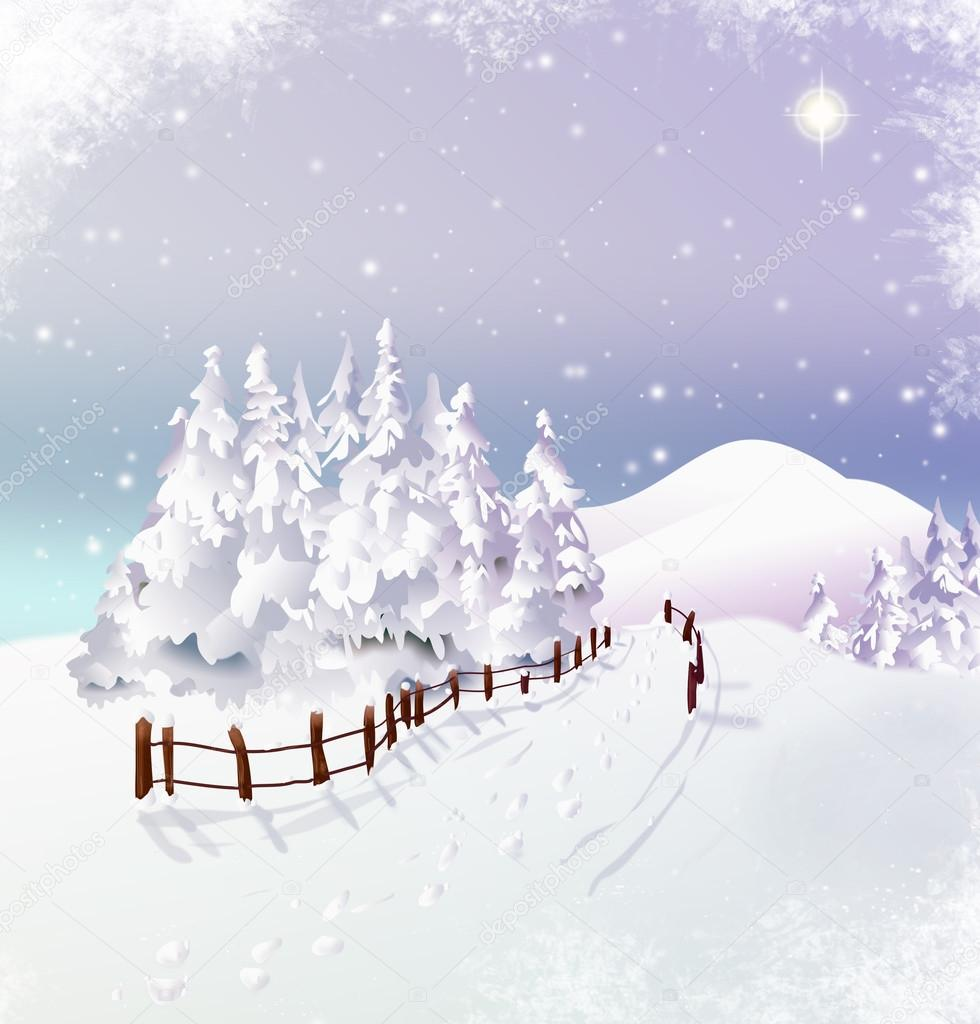 Snowy winter landscape with Christmas star