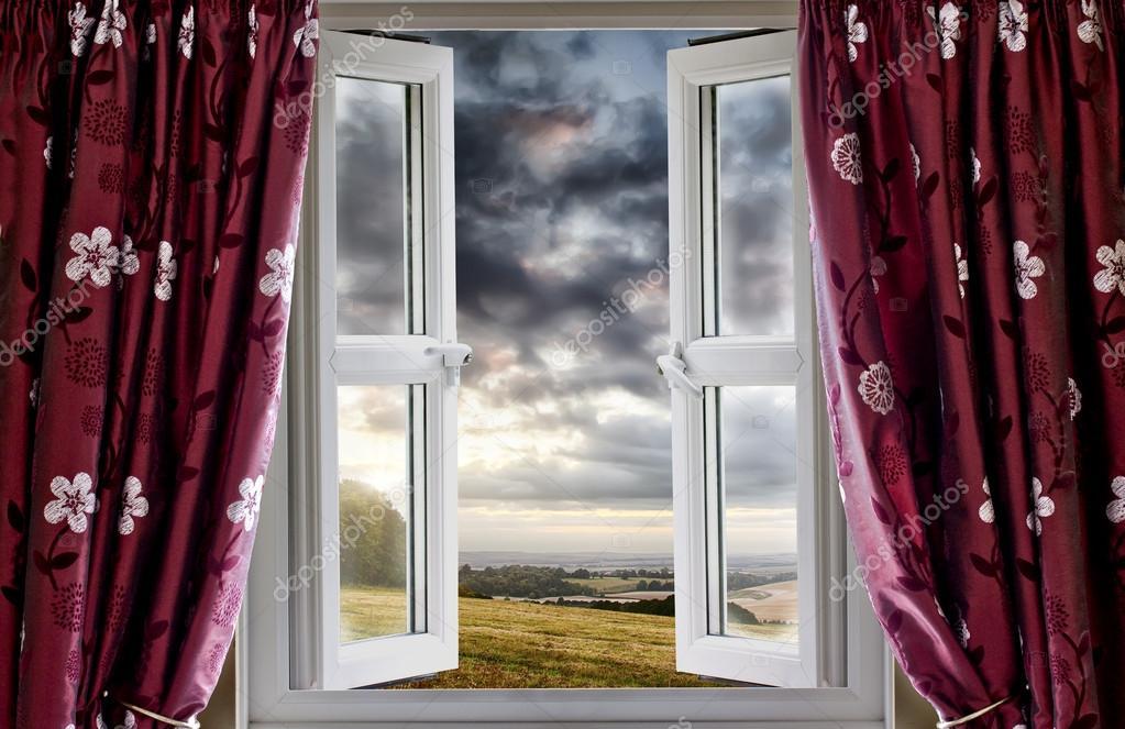 Open window onto landscape view