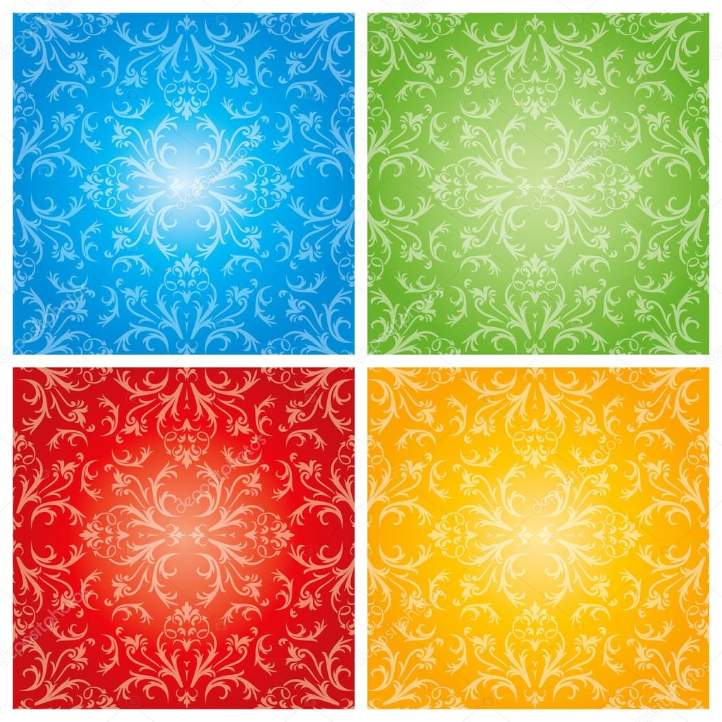 Abstract flowers with four season background
