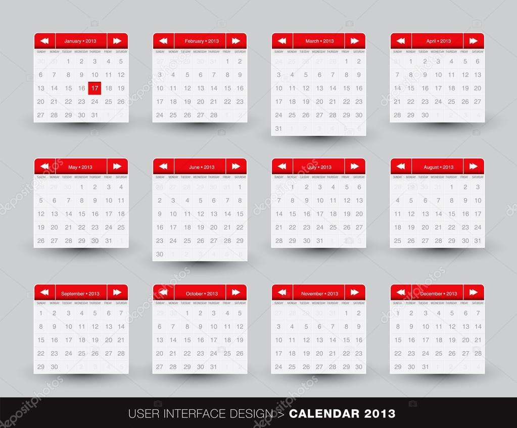 Illustration Calendar Design : Monthly calendar design for mobile phone — stock