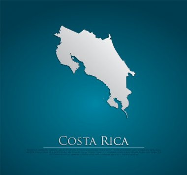 vector Costa Rica Map card paper
