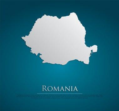 vector Romania Map card paper