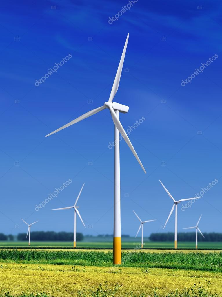 Meadow with Wind turbines l