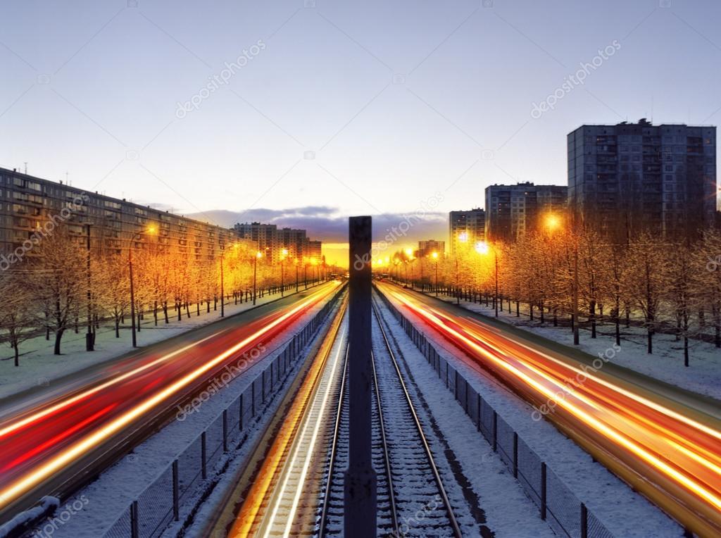 Night time traffic in Kiev