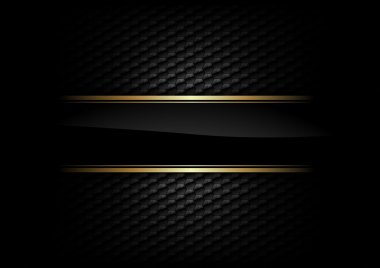 Black stripe with gold border on the dark background stock vector