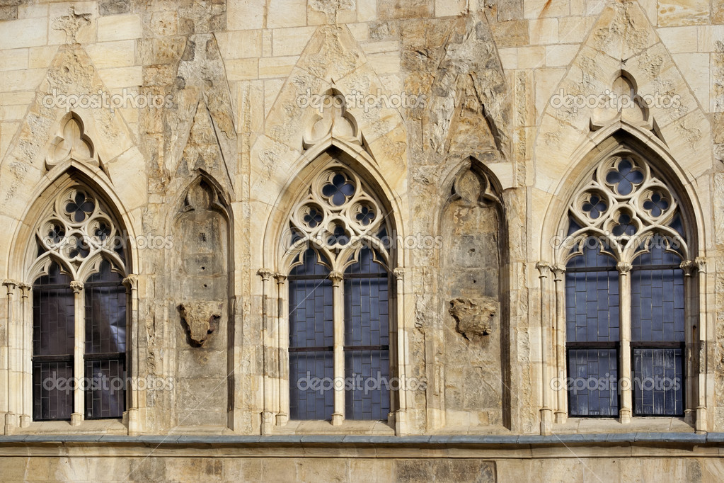 Detail Of The Gothic Window House At Stone Bell On Old Town Square In Prague Is Named After Planted Corner