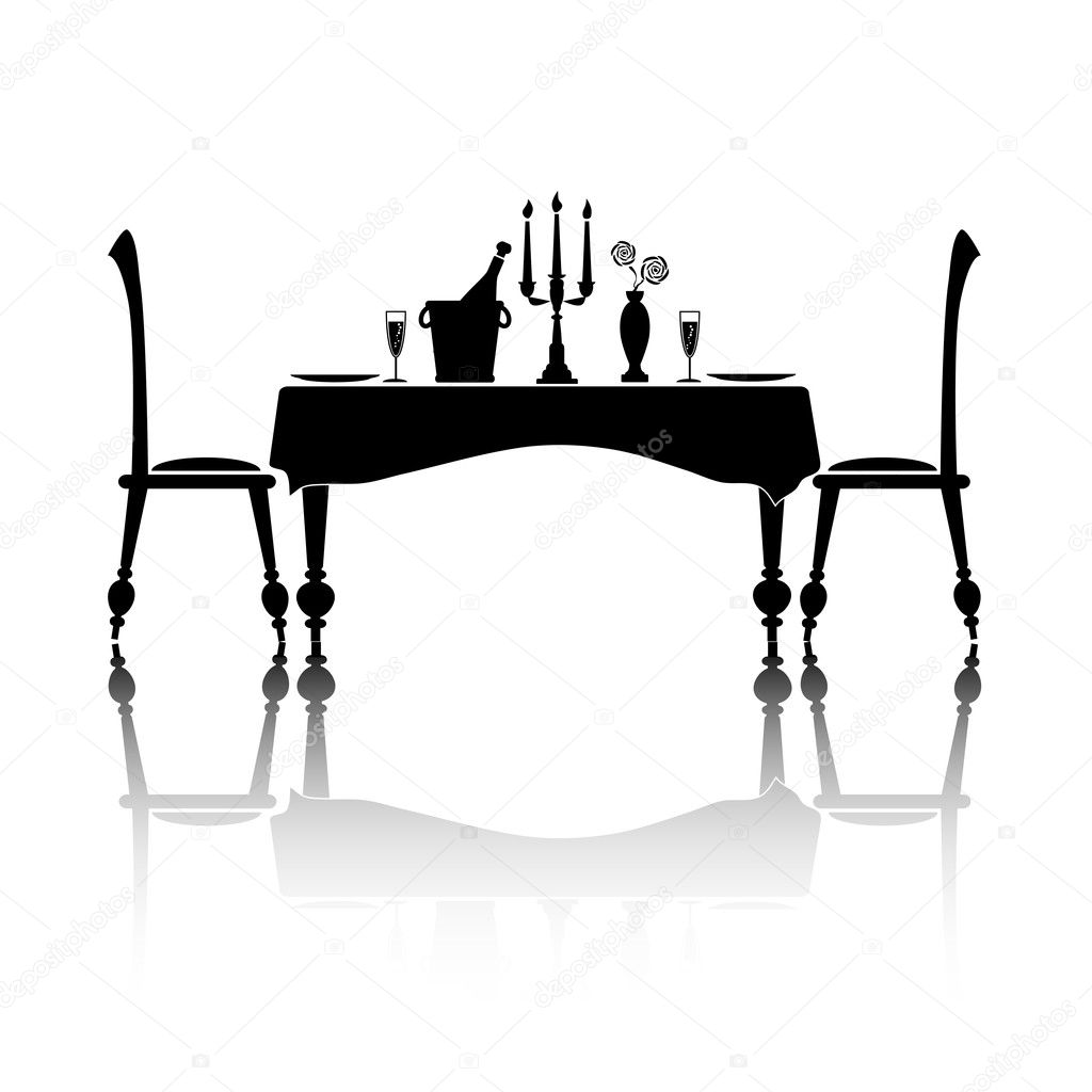 Dinner for two — Stock Vector © rixipix #19855835